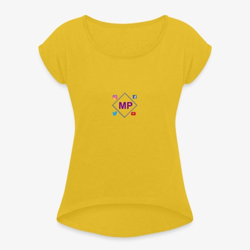 MP logo with social media icons - Women's T-Shirt with rolled up sleeves