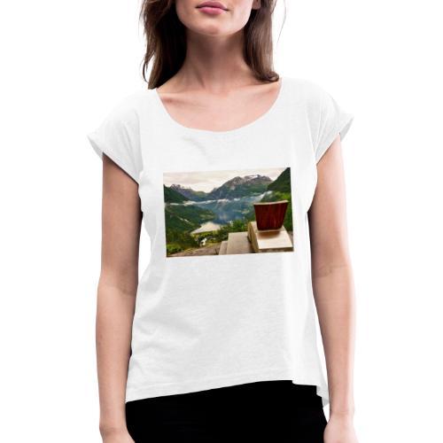 geiranger - T-skjorte med rulleermer for kvinner
