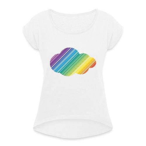 Regnbågsmoln - T-shirt med upprullade ärmar dam