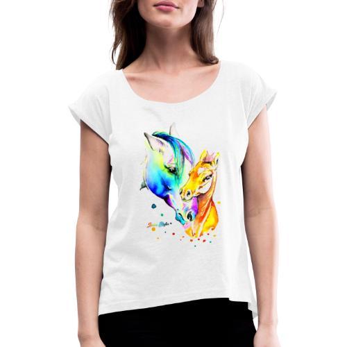 Jument et son poulain - T-shirt à manches retroussées Femme