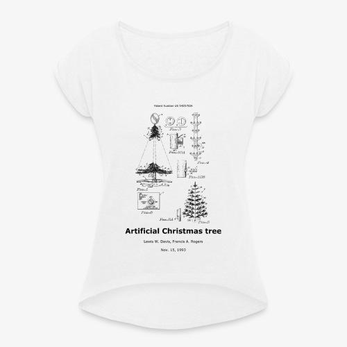 Artificial christmas tree - Frauen T-Shirt mit gerollten Ärmeln
