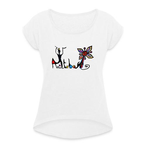 noir 1 png - T-shirt à manches retroussées Femme