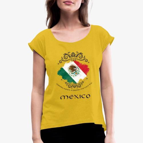 Mexico Vintage Bandera - Frauen T-Shirt mit gerollten Ärmeln