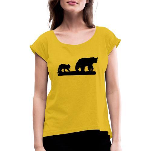 Bären Bär Grizzly Wildnis Natur Raubtier - Frauen T-Shirt mit gerollten Ärmeln