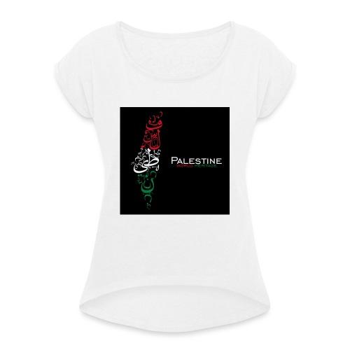 Palestine_world_heritage_design-jpg - Vrouwen T-shirt met opgerolde mouwen