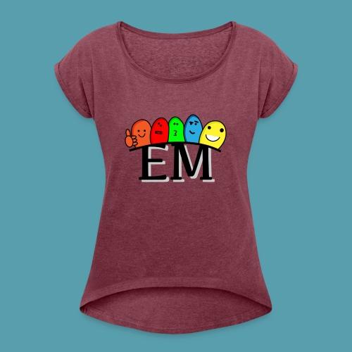 EM - Naisten T-paita, jossa rullatut hihat