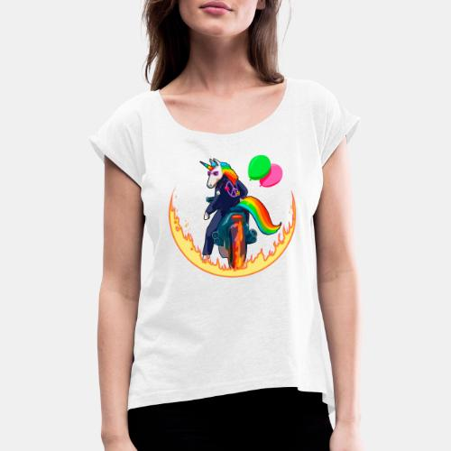 Motocornio - Camiseta con manga enrollada mujer