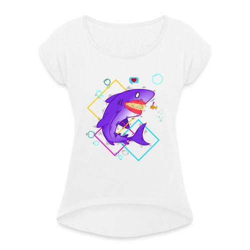 shark and fish - Camiseta con manga enrollada mujer