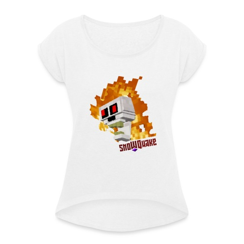 SnoWQuake skull logo - Women's T-Shirt with rolled up sleeves