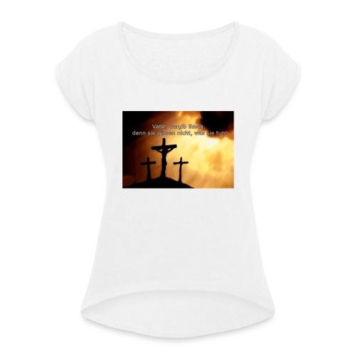Jesus - Frauen T-Shirt mit gerollten Ärmeln
