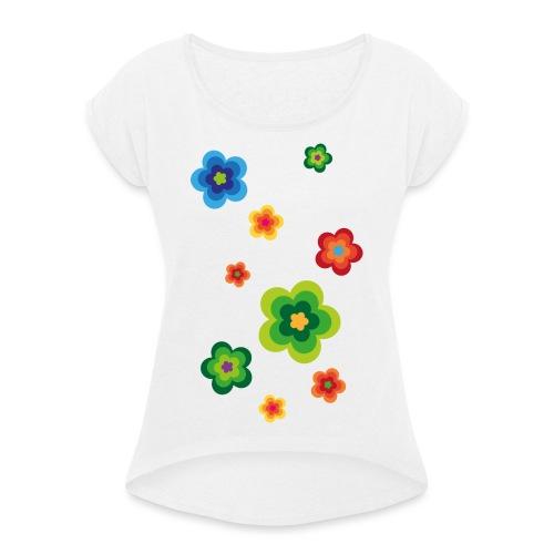 Limited edition 01 Flowerpower - Frauen T-Shirt mit gerollten Ärmeln