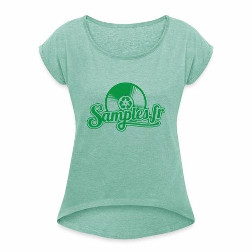 Samples.fr Vert - T-shirt à manches retroussées Femme