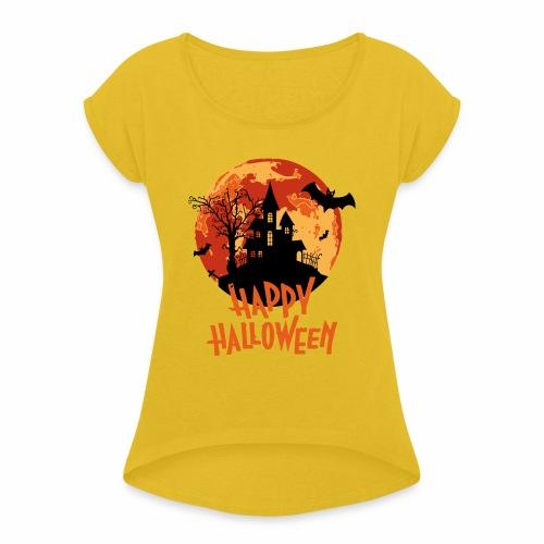 Bloodmoon Haunted House Halloween Design - Frauen T-Shirt mit gerollten Ärmeln
