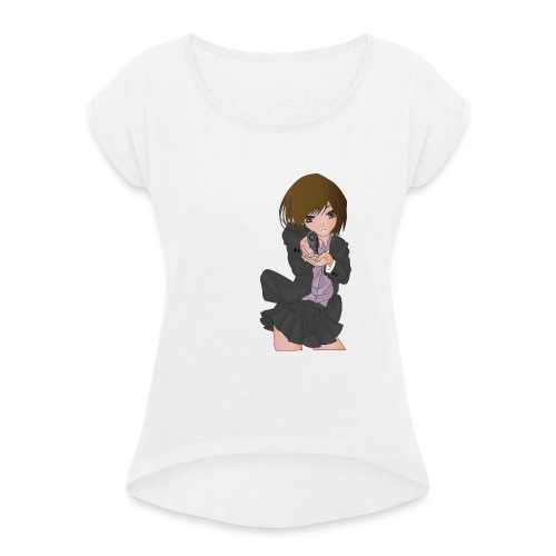 Pistol girl - Vrouwen T-shirt met opgerolde mouwen