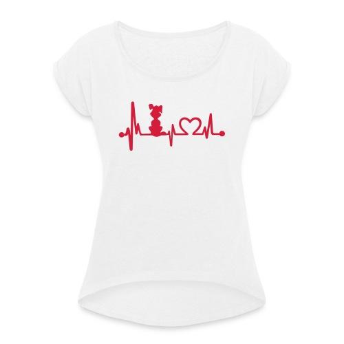Vorschau: dog heart beat - Frauen T-Shirt mit gerollten Ärmeln
