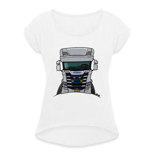 0814 S truck grill wit - Vrouwen T-shirt met opgerolde mouwen