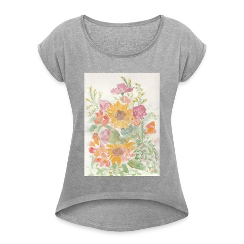 Flowers - Maglietta da donna con risvolti