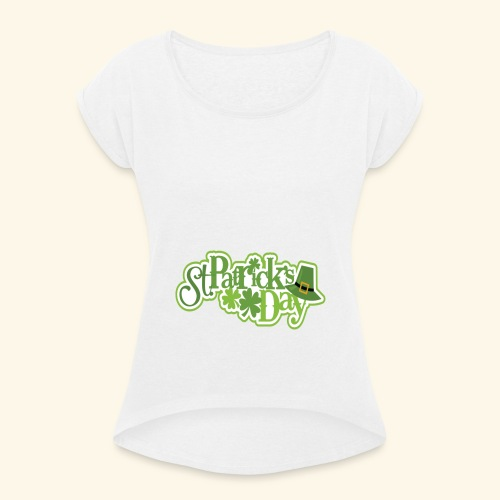 St Patrick`s Day Leprechaun Riding fun gift tshirt - Women's T-Shirt with rolled up sleeves