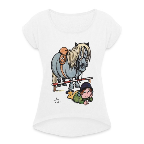 Thelwell Reiterin Liegt Hinter Dem Sprung - Frauen T-Shirt mit gerollten Ärmeln