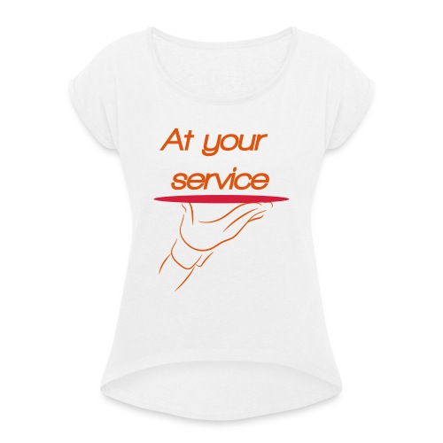 Ober - Vrouwen T-shirt met opgerolde mouwen