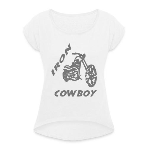 iron cowboy - Frauen T-Shirt mit gerollten Ärmeln