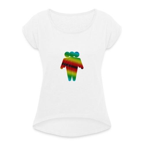 Rainbow Guy - Frauen T-Shirt mit gerollten Ärmeln