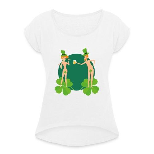 Adam et Eve fêtent la Saint Patrick - T-shirt à manches retroussées Femme