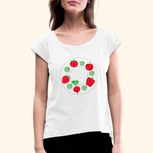 Frutos rojos del huerto - Camiseta con manga enrollada mujer