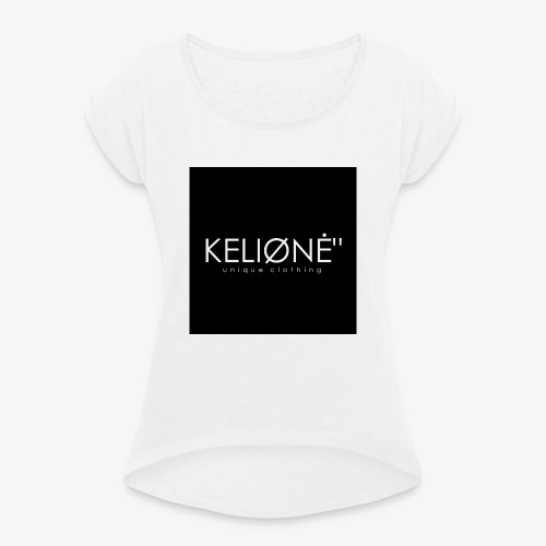 Black KELIØNĖ design - Women's T-Shirt with rolled up sleeves