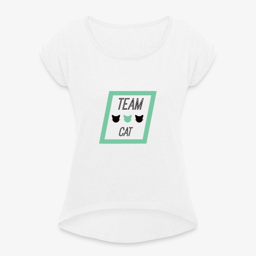 Team Cat - Slogan Tee - Koszulka damska z lekko podwiniętymi rękawami
