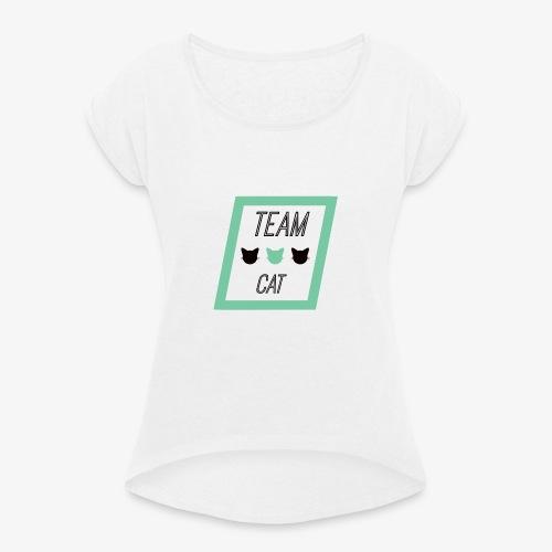 Team Cat - Slogan Tee - T-shirt à manches retroussées Femme