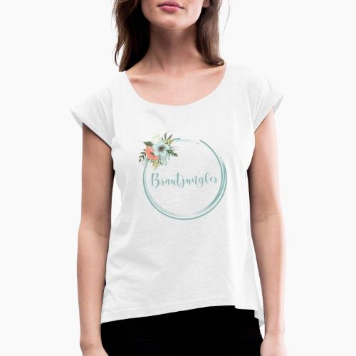 Brautjungfer - florales Motiv in blau - Women's T-Shirt with rolled up sleeves