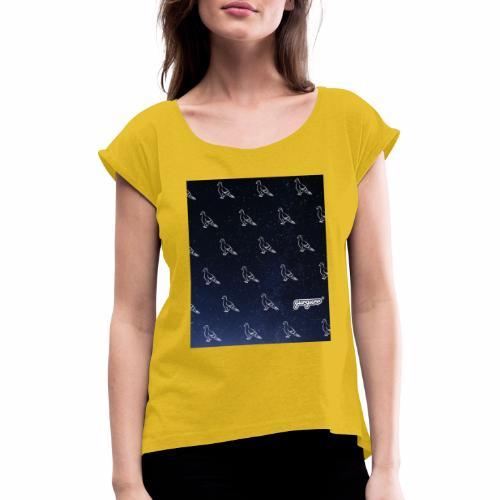 pigeonarmay in space - Frauen T-Shirt mit gerollten Ärmeln