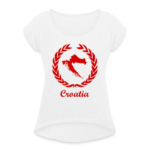 Connect ExYu Croatia Red Edition - Frauen T-Shirt mit gerollten Ärmeln