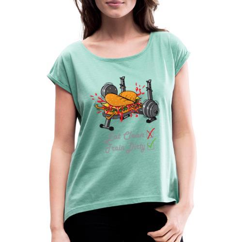Hamburger Développé Couché Musculation - T-shirt à manches retroussées Femme