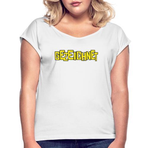 Gezeichnet Logo Gelb - Frauen T-Shirt mit gerollten Ärmeln