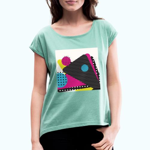 Abstract vintage shapes pink - Women's T-Shirt with rolled up sleeves