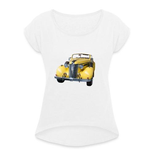 Gele klassieke auto1920 - Vrouwen T-shirt met opgerolde mouwen