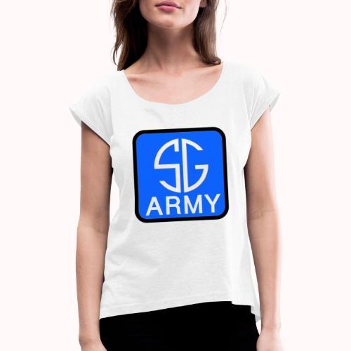 SemGamerArmy logo in box - Vrouwen T-shirt met opgerolde mouwen