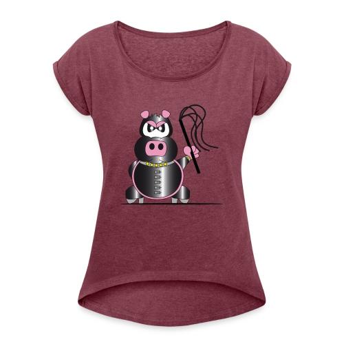 Schweinchen Sado - Frauen T-Shirt mit gerollten Ärmeln