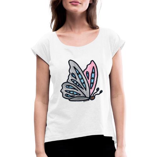 Fjäril - T-shirt med upprullade ärmar dam