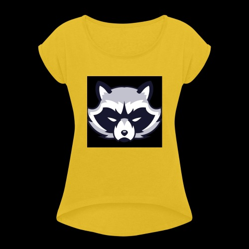 WaschbeerKopf Logo :) - Frauen T-Shirt mit gerollten Ärmeln