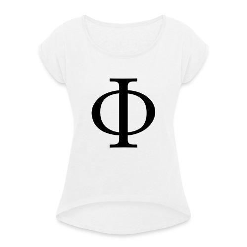 1024px-Greek_letter_uppercase_Phi-svg-png - Dame T-shirt med rulleærmer
