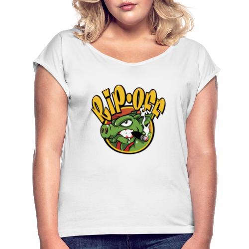 RIP OFF - T-shirt med upprullade ärmar dam