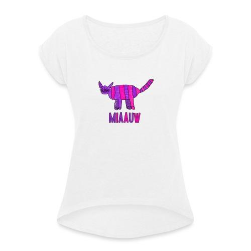 miaauw, paarse poes - Vrouwen T-shirt met opgerolde mouwen