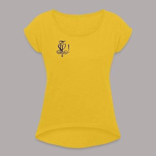 Zirkel, schwarz (vorne) Zirkel, schwarz (hinten) - Frauen T-Shirt mit gerollten Ärmeln