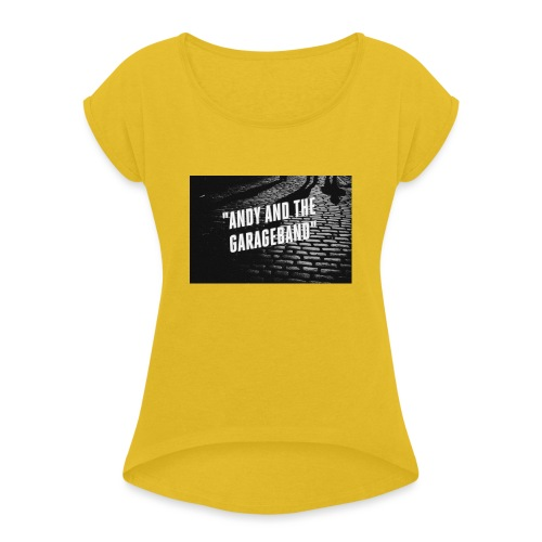 Black and White - T-skjorte med rulleermer for kvinner