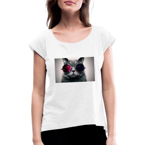 Cool Cat Merch! - Dame T-shirt med rulleærmer