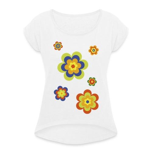 limited edition 3a flower power - Frauen T-Shirt mit gerollten Ärmeln