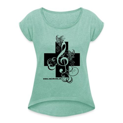 Swiss Beatz Logo non L - Frauen T-Shirt mit gerollten Ärmeln